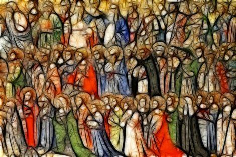 Wielu świętych ustawionych w rzędach